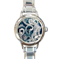 Spiral Glass Abstract  Round Italian Charm Watch