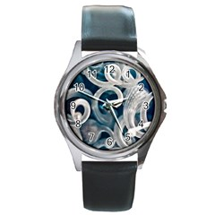 Spiral Glass Abstract  Round Metal Watch