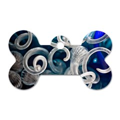 Spiral Glass Abstract  Dog Tag Bone (two Sides)