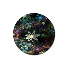 Flowers Fractal Bright 3840x2400 Rubber Coaster (round)