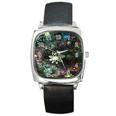 Flowers Fractal Bright 3840x2400 Square Metal Watch