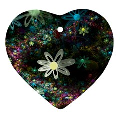 Flowers Fractal Bright 3840x2400 Heart Ornament (two Sides)