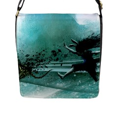 Running Abstraction Drawing  Flap Messenger Bag (l)