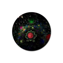 Shapes Circles Flowers  Rubber Round Coaster (4 Pack)