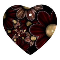 Flower Background Line Ornament (heart)