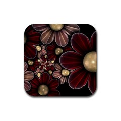 Flower Background Line Rubber Square Coaster (4 Pack)