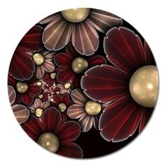 Flower Background Line Magnet 5  (round)