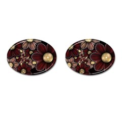 Flower Background Line Cufflinks (oval)