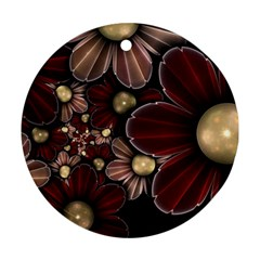 Flower Background Line Round Ornament (two Sides)