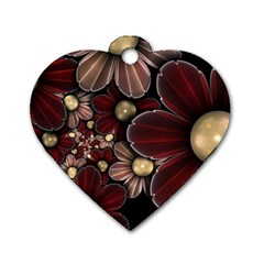 Flower Background Line Dog Tag Heart (two Sides)