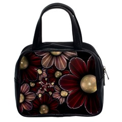 Flower Background Line Classic Handbags (2 Sides)