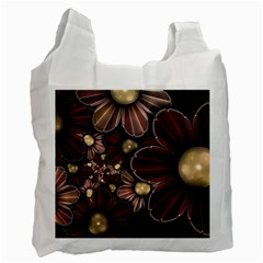 Flower Background Line Recycle Bag (two Side)