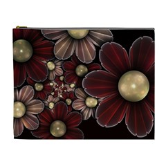 Flower Background Line Cosmetic Bag (xl)