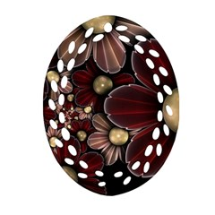 Flower Background Line Oval Filigree Ornament (two Sides)