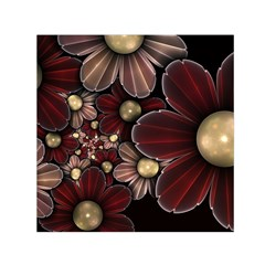 Flower Background Line Small Satin Scarf (square)