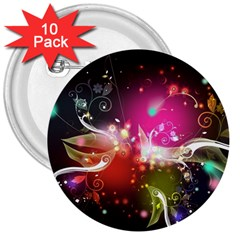 Plant Patterns Colorful  3  Buttons (10 Pack)