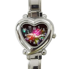 Plant Patterns Colorful  Heart Italian Charm Watch