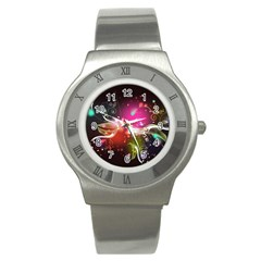 Plant Patterns Colorful  Stainless Steel Watch