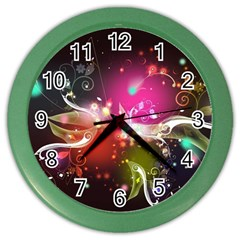 Plant Patterns Colorful  Color Wall Clocks