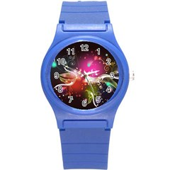 Plant Patterns Colorful  Round Plastic Sport Watch (s)