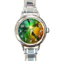 Flowers Petals Colorful  Round Italian Charm Watch