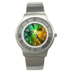 Flowers Petals Colorful  Stainless Steel Watch