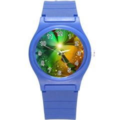 Flowers Petals Colorful  Round Plastic Sport Watch (s)
