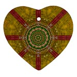Mandala In Metal And Pearls Heart Ornament (Two Sides) Front