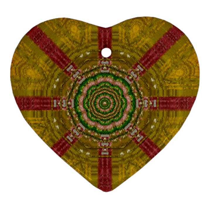 Mandala In Metal And Pearls Heart Ornament (Two Sides)