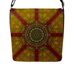 Mandala In Metal And Pearls Flap Messenger Bag (l)