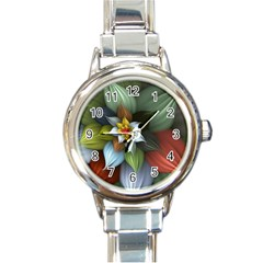 Flower Background Colorful Round Italian Charm Watch