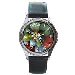 Flower Background Colorful Round Metal Watch