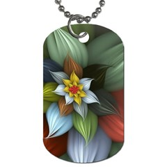 Flower Background Colorful Dog Tag (one Side)