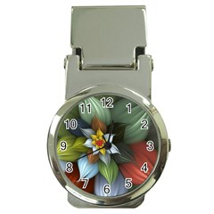 Flower Background Colorful Money Clip Watches