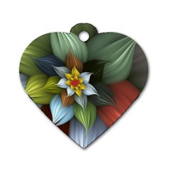 Flower Background Colorful Dog Tag Heart (one Side)