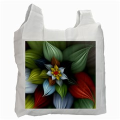 Flower Background Colorful Recycle Bag (one Side)
