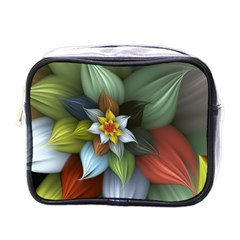 Flower Background Colorful Mini Toiletries Bags