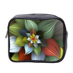 Flower Background Colorful Mini Toiletries Bag 2 Side