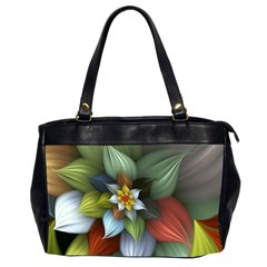 Flower Background Colorful Office Handbags (2 Sides)