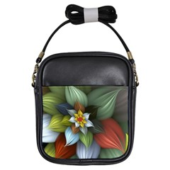 Flower Background Colorful Girls Sling Bags