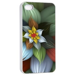 Flower Background Colorful Apple Iphone 4/4s Seamless Case (white)