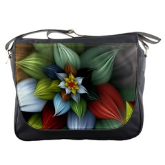 Flower Background Colorful Messenger Bags