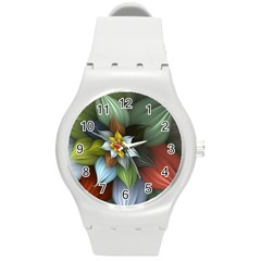 Flower Background Colorful Round Plastic Sport Watch (m)