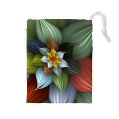 Flower Background Colorful Drawstring Pouches (large)