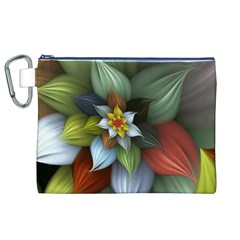 Flower Background Colorful Canvas Cosmetic Bag (xl)