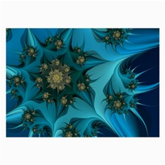 Fractal Flower White Large Glasses Cloth