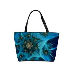 Fractal Flower White Shoulder Handbags