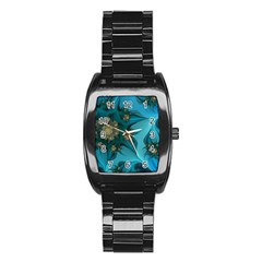 Fractal Flower White Stainless Steel Barrel Watch