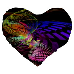 Fractal Patterns Background  Large 19  Premium Flano Heart Shape Cushions
