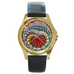 Circles Lines Background  Round Gold Metal Watch